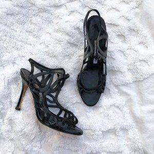 Manolo Blahnik Black Patent Leather Peep Toe Heels